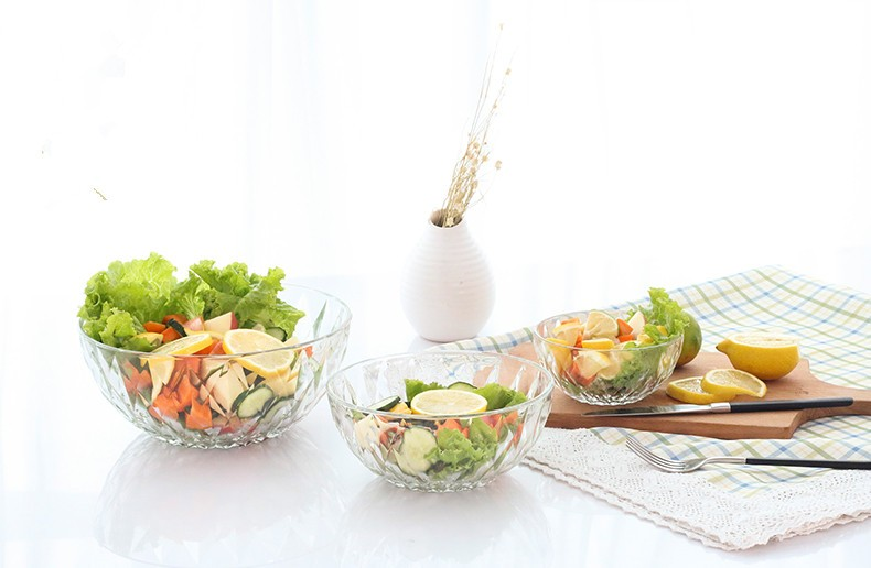 Very Large Decorative Clear Glass Salad Bowls