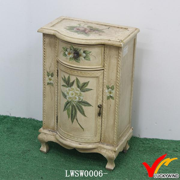 hand painted distressed recycle wood cabinet with flower