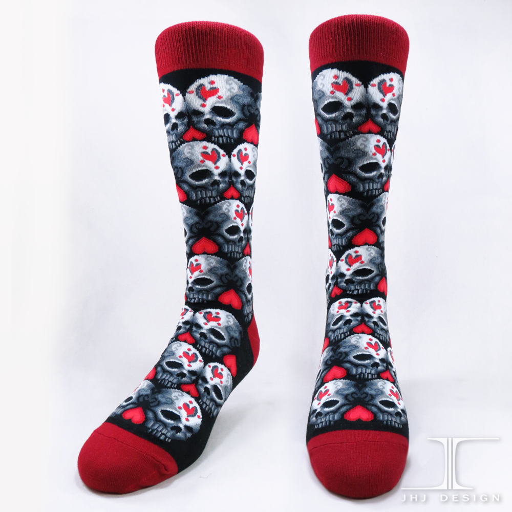 Red Love Heart Skull Fashion No Sublimated Mid calf Socks