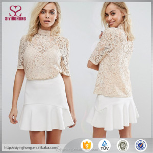 plus size women clothing embroidered lace SHORT sleeves BLOUSE women and girls fashion tops
