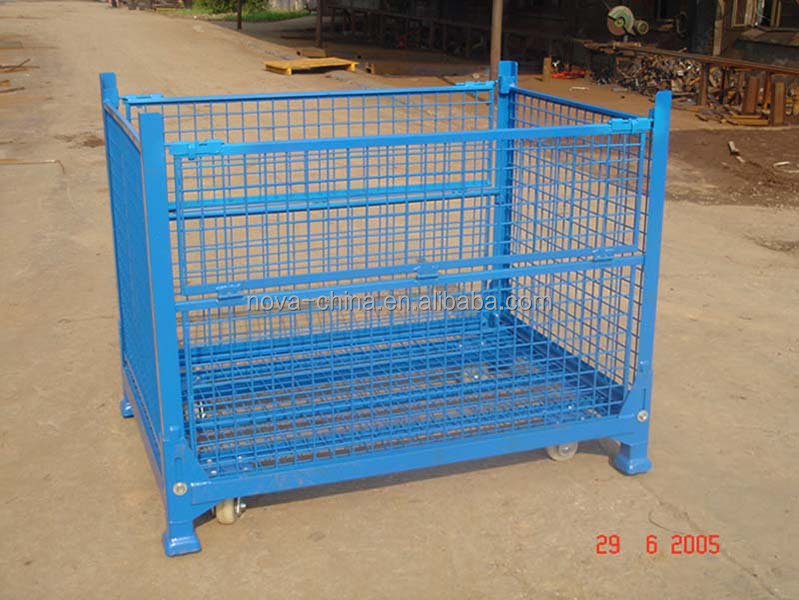 Forklift trolley industrial steel box pallet/ Logistics trolley with wheels