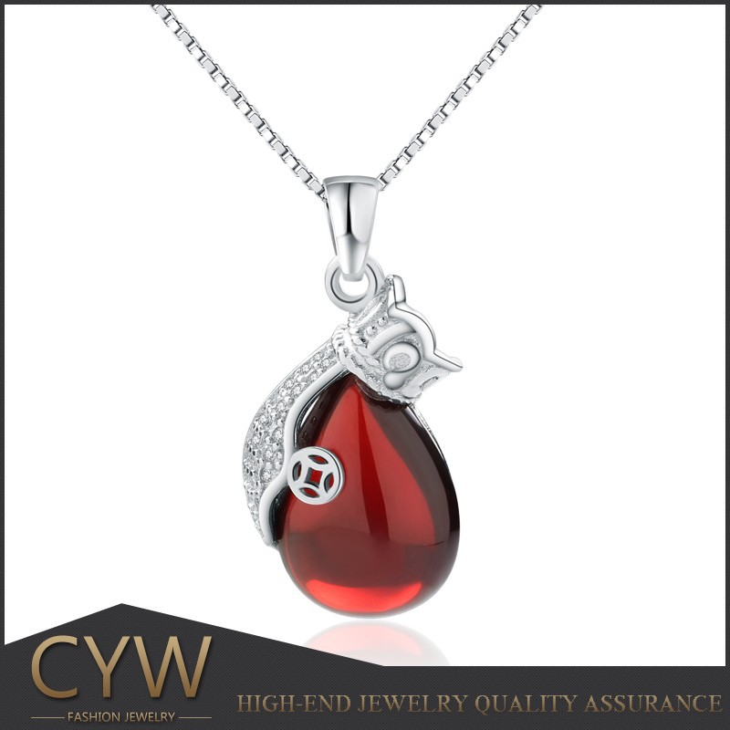 CYW wholesale european charms 925 sterling silver garnet pendant red jewelry for women