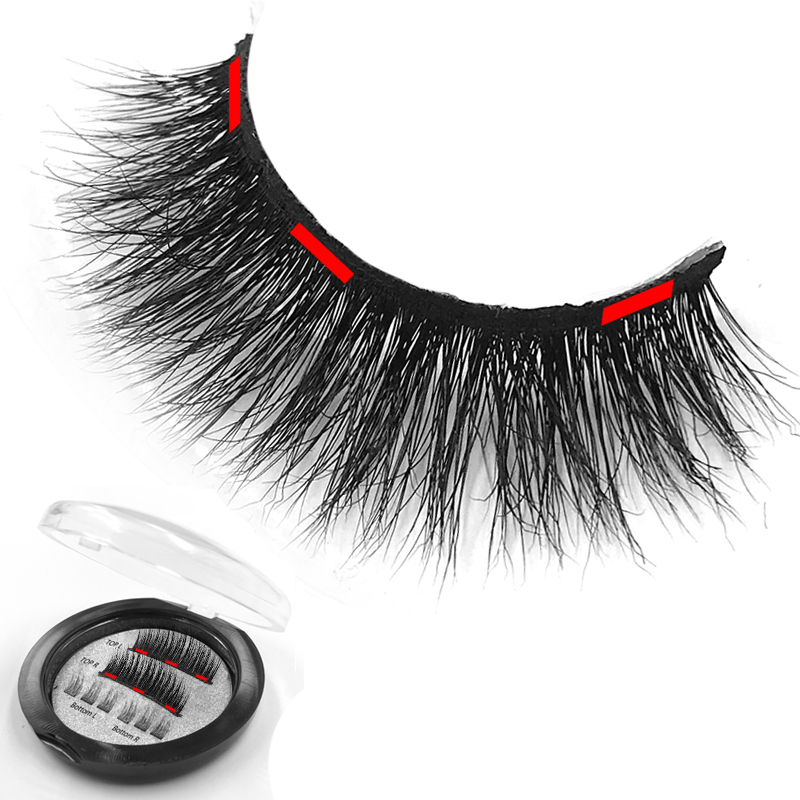 2019 Hot Selling Natural Handmade 3D Mink Magnetic Eyelashes With 3 Magnets False Eyelashes Real Mink Lashes with Your Own Logo