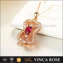Fashion natural Tourmaline stone 18k pink gold plated jewelry necklace