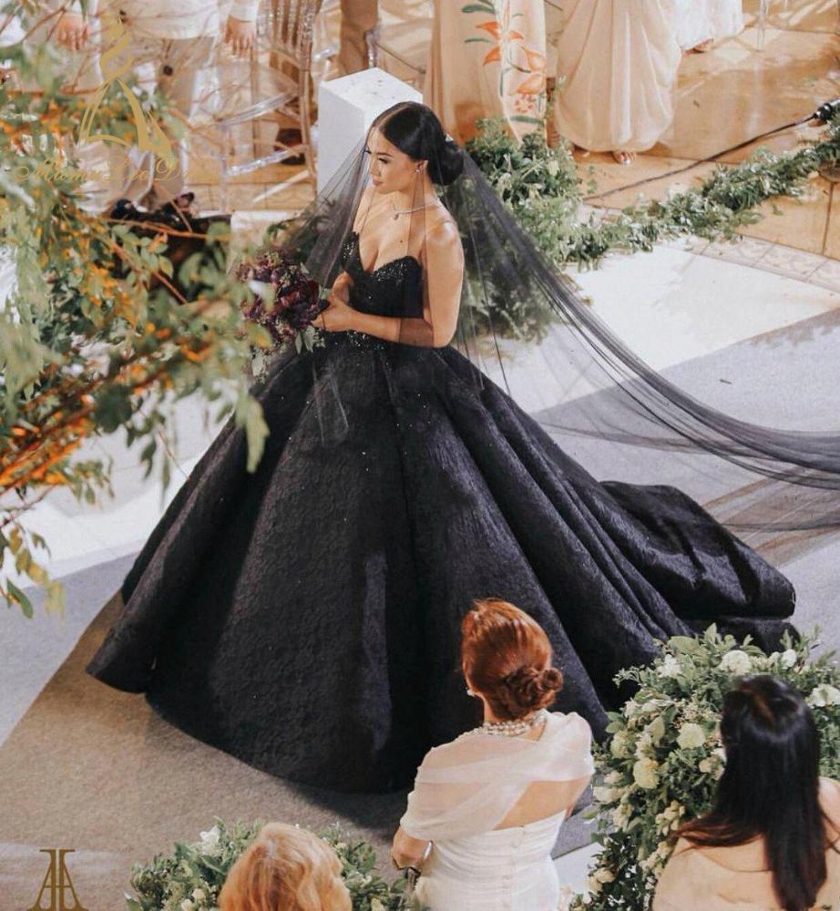 Kain Tulle Gaun Pengantin Gaya Kereta Pemesanan Desainer Yang Paling Indah  Suzhou China Turki Hitam Pernikahan Gaun - Buy Pernikahan Gaun Hitam,Gaya