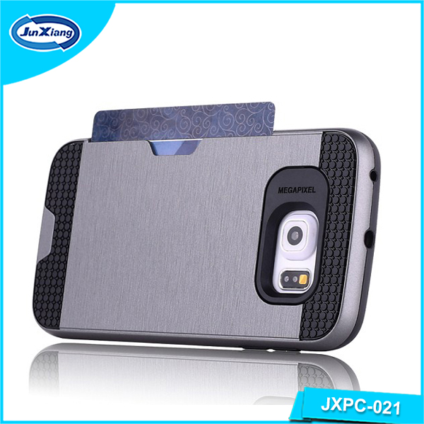 factory supply ultra thin design mobile phone case with credit card holder for samsung s6 edge