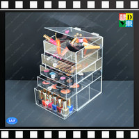 Crystal clear acrylic makeup organizer box with 5 drawers made in China