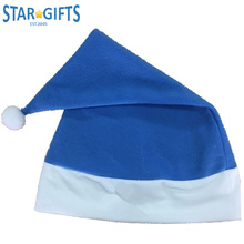 Blue Kid Child Soft Velvet Cheap Custom Logo Fashion Christmas Santa Claus Hat