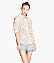 latest t shirt wholesale 2016 new fashion design models brazilian lady Long Sleeve plain casual summer Floral silk women blouse