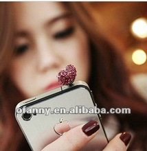 Fashion Heart Earphone Ear Cap Dock Dust Plug For iPhone 4 4S Ipad2