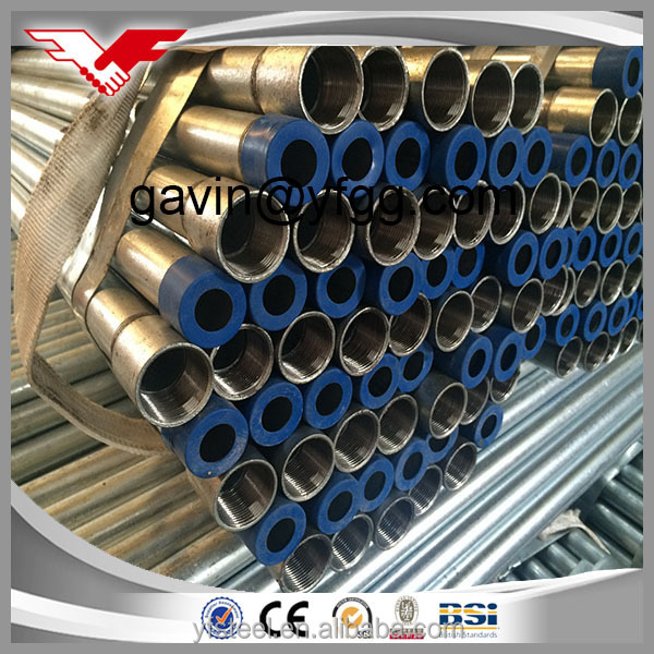 BS1387/ASTM A53/ISO galvanized steel pipe for water and construction