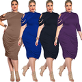 lx10397a plus size women clothing fashion casual ladies dress
