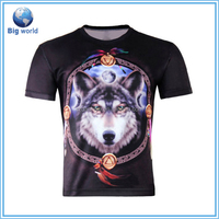 2016 new printing 3d animal mens t shirt,short sleeve 100% polyester t-shirt