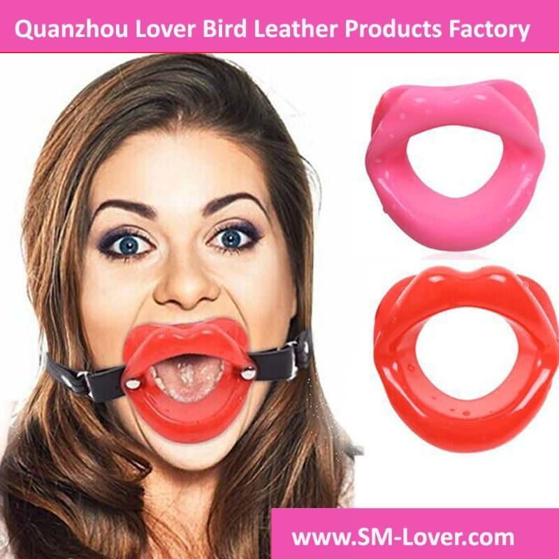 Leather Strap Rubber Lips Shaped O Ring Mouth Gag Bondage Fetish Adult Sex Toys For Woman Sex Products