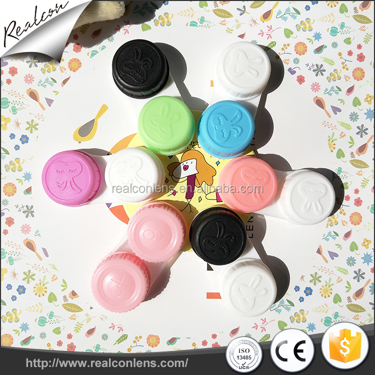 Wholesale sweet and colorful contact lens double cases for color contact lenses