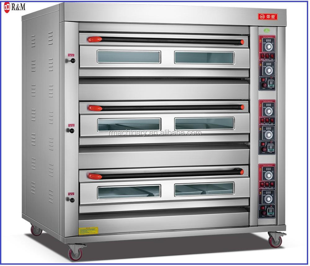 Luxury Industrial Bakery Equipment Manufacturer 3 Deck 9 trays Rotisserie Chicken Gas Oven for Restaurant Bakery