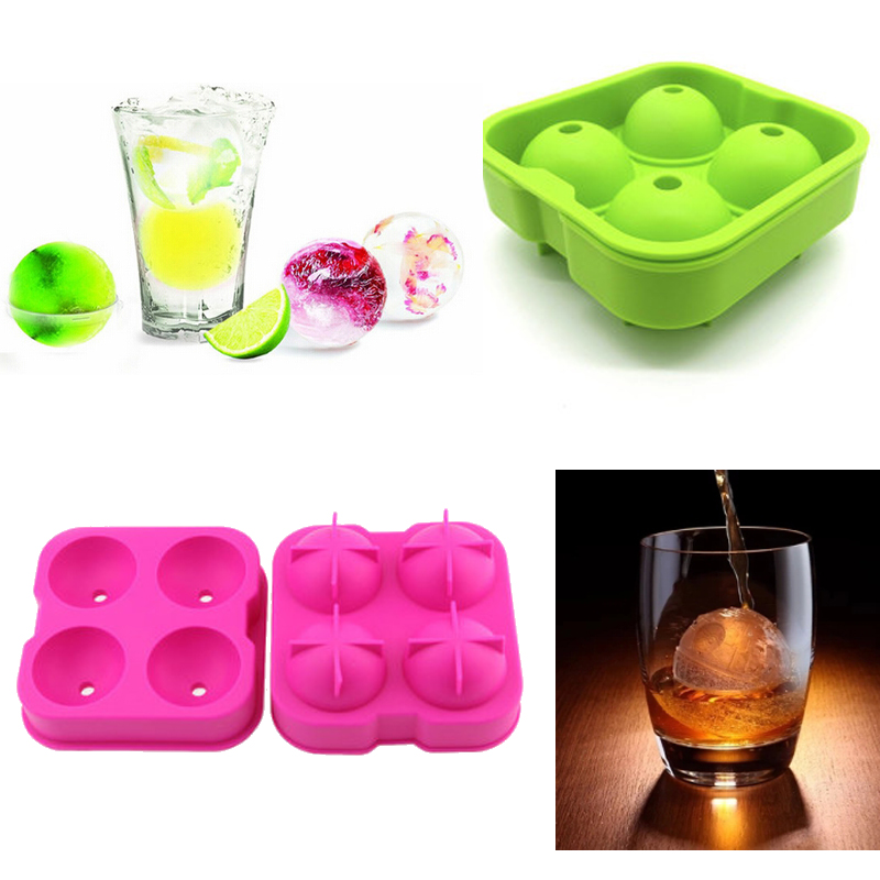 Factory Wholesale non-spill silicone ice ball maker 4cavity silicone ice ball mold