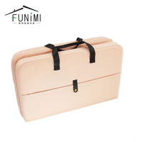 Pink Leather Handles Adjustable Ottoman