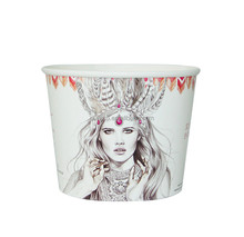 85oz custom printed disposable popcorn paper bucket cup tub bowl box with lid