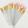 custom logo makeup brushes high quality beauty accessories oval face brush glitter