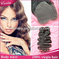 12 inch Brazilian bleached knots middle part silk base lace closure made in china alibaba