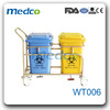 WT006 Best price! Hospital stainless steel + plastic rubbish trolley