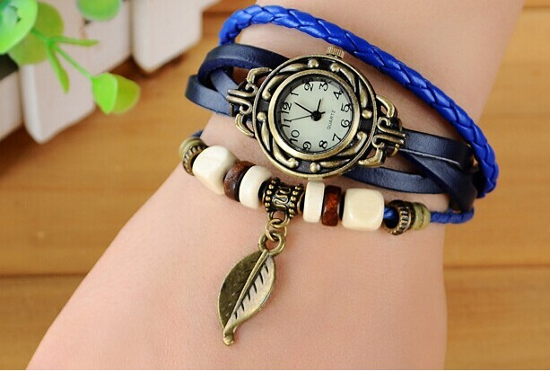Hot Sale New Fashion 6 colors Luxury Leaf Pendant Bracelet Wrist Watches Relogio Feminino Leather Women Watches Montre Femme