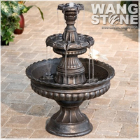 Large Modern 3-Tiers Garden Bronze Fountain