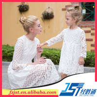 White lace mother and daughter dress design clothing sets children girl dress