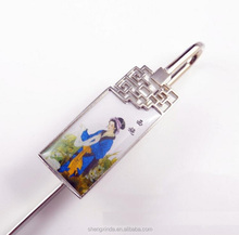 Fashion blue and white porcelain design Metal bookmark with person logo