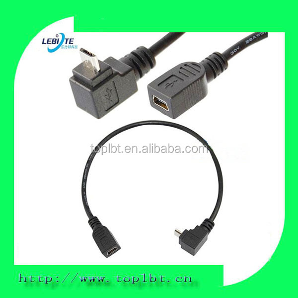 USB 2.0 Mini B 5-Pin female to Micro B UP angle male Adapter cable