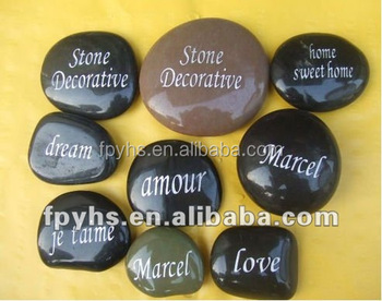 engraved river stones with inspiration word,logo rock