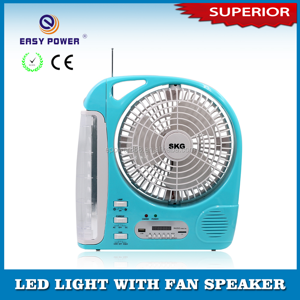 Long life handy 6v battery rechargeable 8 inch table fan with led light ,FM radio ,USB speaker