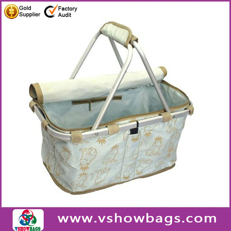 12 year manufacturer double handle aluminum folding shopping basket