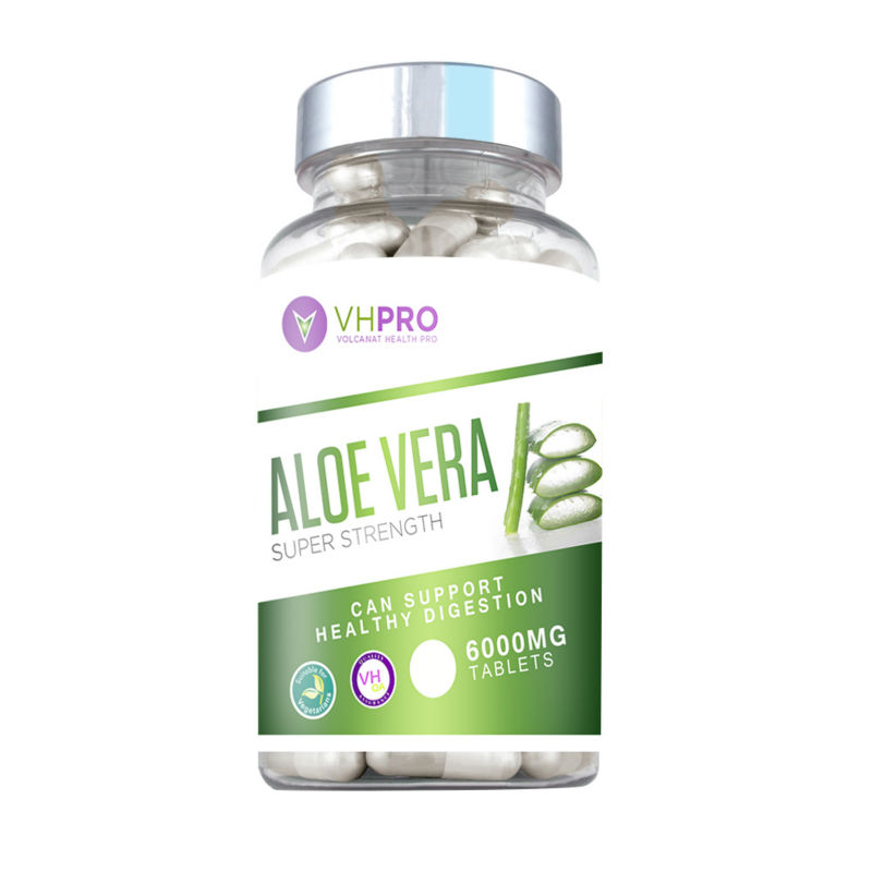 Volcanat Health Pro Aloe Vera 6000mg Tablets Best digestion Diet Pills in Clear Round bottles