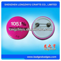 Good Quality Cheap Promotional Button Badges 25MM Pink Round Custom Logo Pin Plastic Badge Factory Manufacturer