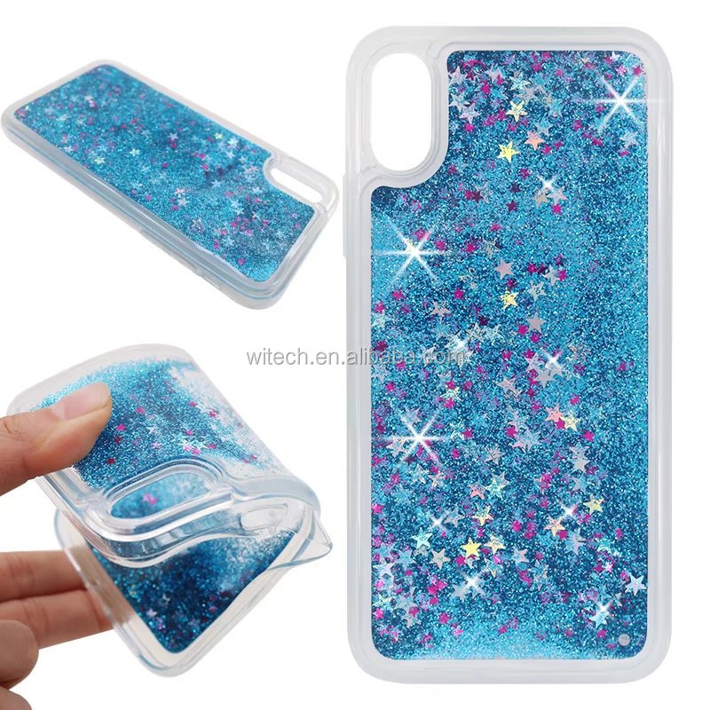 Free Sample Glitter Stars Quicksand Hard PC+ TPU mobile back cover For iPhone X case