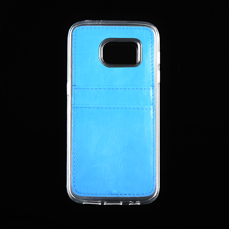 TPU case with insert card slot PU holder case at back for Samsung galaxy S7