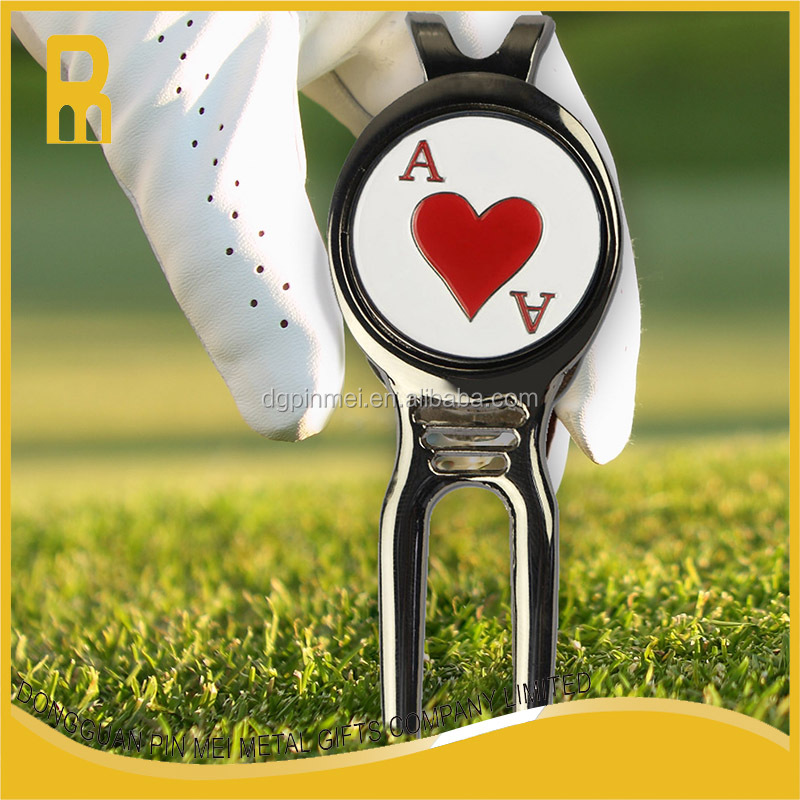 Corporate golf divot tool / golf pitchfork with ball marker