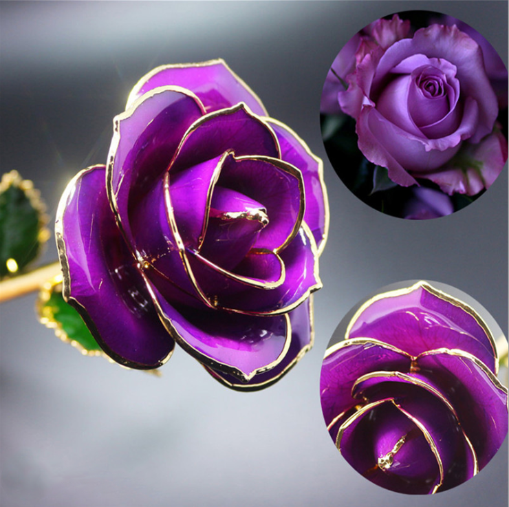 Long Stem Dipped 24k Gold Rose in Gift Box with Clear Display Stand (Purple)