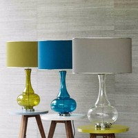 7.19-10 Blue glass and metal table lamp base