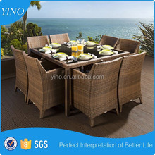 8 Seat Glass Top Dining Table Modern Concise Dining Set VL1144