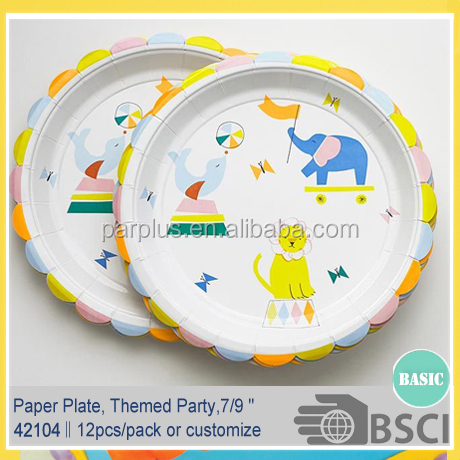 Circus Party Tableware Paper Plate Cup Napkin