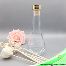 130ml vase shaped room air condition reed diffuser clear decorative glass bottle with golden stopper