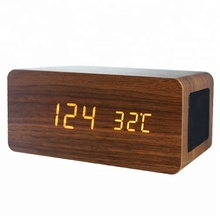 Creative Charming Wooden Wireless Phone Charger LED Alarm Clock With 4.2/5.0 Stereo Audio Speaker