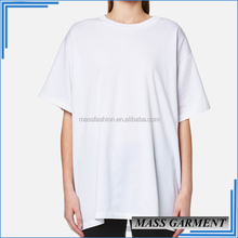 Hot Basic Women Long Loose Drop Shoulder White Oversized T Shirt