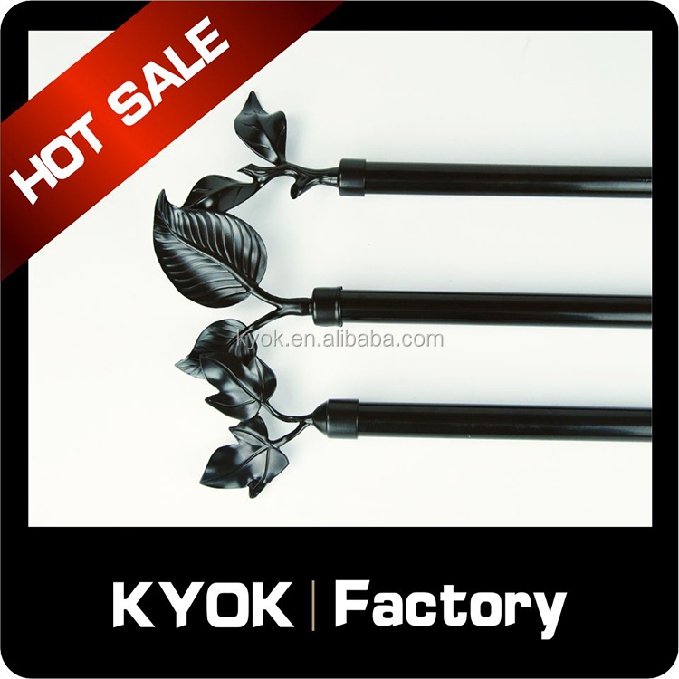 KYOK cheap price black series wrought iron curtain pole and fnals/ends,curtain rod finials wholesale