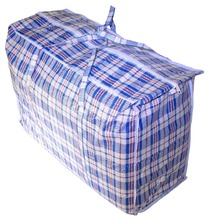Plastic Checkered Storage Laundry Shopping Bags Zipper Reinforced Handles Grocery Tote Bags