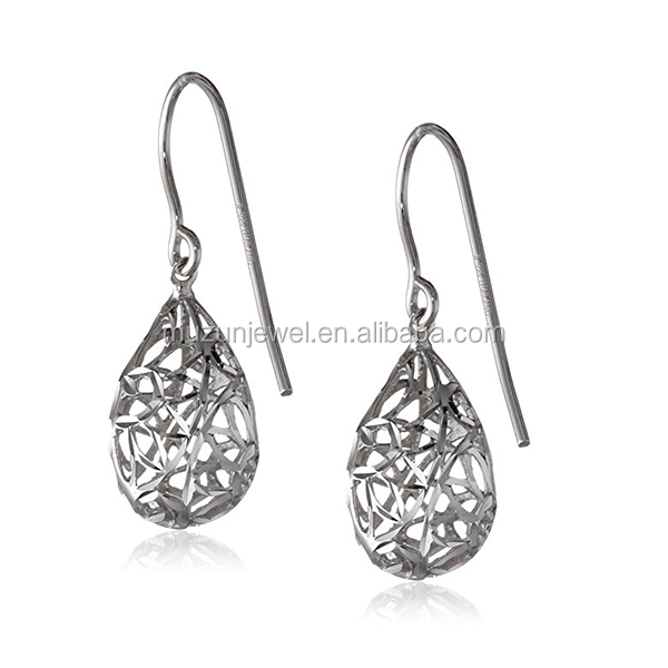 Fashion Rhodium plated Pear Dangle Filigree Earrings 925 Sterling Silver Hook Drop Earrings