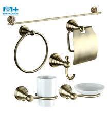 OEM/ODM Ningbo Manufacture Luxury Design European Zinc Antique Copper Sanitary Ware hotel bathroom accessories 6pcs set